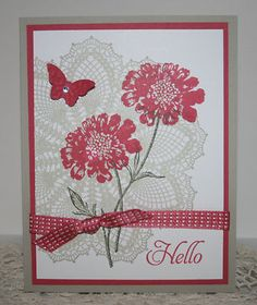 GREETING CARD SET x4 Completed Lot/Kit~ Stampin Up Field Flowers Doily Butterfly