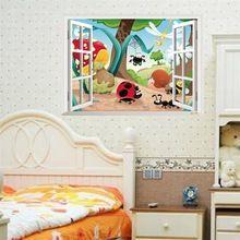 Insectes mur de la fenêtre autocollant familiales pépinière stickers muraux pour enfants chambre pvc amovible animaux bande dessinée stickers muraux décoration de la maison(China (Mainland))