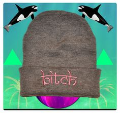 bitch: grey beanie, pink embroidery    hypenosis.com  http://facebook.com/hypenosis