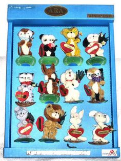 ARA Animals Wool VINTAGE Austria 12 POCKET PETS in Dealer Display Box NOS RARE! (01/27/2013)
