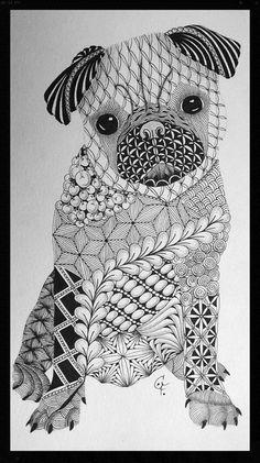 CoFoNo - Zentangle Inspired Art - ZIA - Galerie  Mops - dog - Pug - 22. März 2015 - Zentangle patterns: Aquafleur, Chillon, Nipa, Footlites, Poke Root, Diva Dance, Flux, Vega, Finery, Fassett, Keeko, Printemps, Lace Curtains, Hi-C´s, Miasma, Yincut, Betweed, Coral Seeds