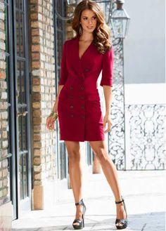 Attraktives Kleid in modischer Zweireiher-Optik - dunkelrot