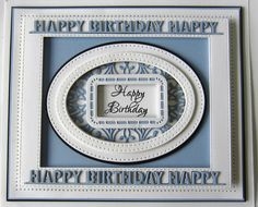 PartiCraft (Participate In Craft): Happy Birthday Sue Wilson Dies, Birthday Cards, Happy Birthday, Spellbinders Cards, My Stamp, Embossing Folder, I Card, Card Making, About Me Blog