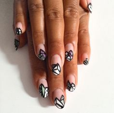 nails_by_nicki on Instagram   Almond nails with an artistic geometric pattern,  #nailart #negativespacenailart #geometricnails #naildesign #nails #manicure #style #nailtrends #fashion #dubaistyle #dubaifashion #dubai #uae