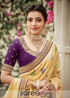 Simple blouse designs for kajal aggarwal - Indian Fashion Ideas Saree Blouse Neck Designs, Simple Blouse Designs, Saree Blouse Patterns, Indian Dresses, Indian Outfits, Kajal Agarwal Saree, Elegant Saree, Saree Look, Indian Designer Outfits