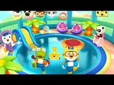 [HD] 아기 팬더 수영장 다이빙 놀이 with Pororo game 宝露露,Popolo, Пороро, ポロロ,เกาหลี