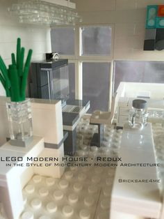 "Modern House - Redux - in the Style of Mid-Century Modern Architecture - © 2013, 2016 C.Loch Bricksare4me- as seen at BrickCan 2016 - awarded ""Best Edifice"" - craft room / office -#LEGOModularHouses #architecture #modern #house #legobricks #moc #legocity #legoideas #legoarchitecture #legomodernarchitecture #modernarchitecture #modernlegoarchitecture #afol #artwork #archbrick #legoart #sculpture #miniatures #minimalism #brickcan #building #bricksare4me #bricks #architecturephotography"