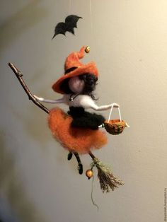 Needle felted Fairy Waldorf inspired Witch with a magic broom Halloween Wool WitchOrange Mobile Art doll Autumn ornament Halloween Doll, Halloween Crafts, Halloween Decorations, Autumn Fairy, Felt Fairy, Mobile Art, Fairy Dolls, Felt Ornaments, Needle Felted Ornaments