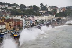 The Exeter to Plymouth line hugs the coast at Dawlish, Devon, England