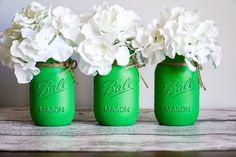 Party Centerpieces, Flower Centerpieces, Green Mason Jars, Bright Green, Twine, Decorating, Etsy, Decor, Fiesta Centerpieces