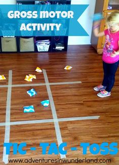 Such a fun gross motor activity for toddlers and preschool! A giant game of Tic-Tac-Toe!