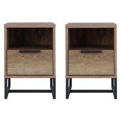 Buy Argos Home Lola 2 Bedside Tables Set - Walnut Effect | Bedside tables | Argos Slim Bedside Table, Pair Of Bedside Tables, Bedside Chest, Bedside Cabinet, Light Oak, Argos, Wood Veneer, Habitats, Master Bedroom