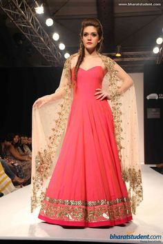 Pink floor length anarkali and gold duppatta by Anushree Reddy at Lakme Fashion Week Winter / Festive 2013