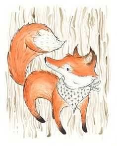 Woodland Watercolor Fox, Print, 8x10, Woodland Nursery Art, Girl Nursery, Boy Nursery, Wood Grain on Etsy, $22.00
