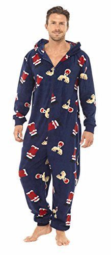 3e098877aeaf Men s Christmas Fun Hooded All in One Pyjamas Onesie Red Size M L Tom Franks