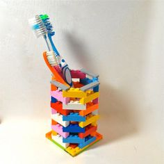 20 Totally Amazing AND Useful Things Made of Legos Lego toothbrush holder – buy on Etsy or DIY Projects For Kids, Crafts For Kids, Diy Crafts, Kids Diy, Deco Lego, Lego Bathroom, Family Bathroom, Bathroom Kids, Activities For Kids