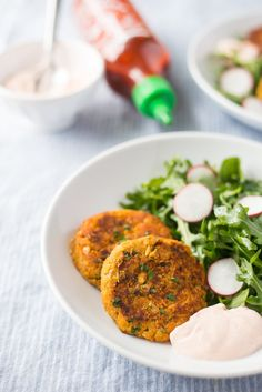 Recipe: Sweet Potato-Chickpea Patties with Sriracha-Yogurt Dip — Weeknight Recipes from The Kitchn