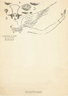 The mime Marcel Marceau's letterhead