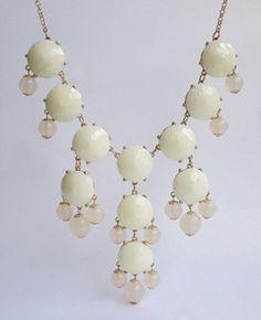 Handmade Bubble Necklace - Bib Necklace- Statement Necklace-white