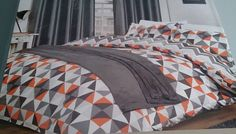 Retro DOUBLE SIZE DUVET COVER NEW Orange Grey Geometric Pyramids Triangles in Home, Furniture & DIY, Bedding, Bed Linens & Sets | eBay