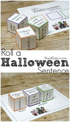 Roll a Halloween sentence and practice grammar while making silly sentences. Practice grammar with a fun roll a Halloween sentence! Make some silly sentences and learn about subjects and predicates at the same time. Halloween Books, Halloween Activities, Holiday Activities, Literacy Activities, Literacy Centers, Halloween Halloween, Halloween Costumes, Silly Sentences, Handwriting Activities