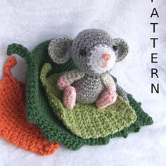 Pattern-Crochet Amigurumi Mouse with Bed from Leaves-Instant Download Crochet Pattern-Toy Mouse-Amigurumi Mouse-Crochet Toy-Stuffed Animal