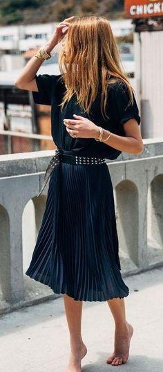 #Street #Fashion | Black tee, Navy Pleated Skirt |Maja WYH                                                                             Source