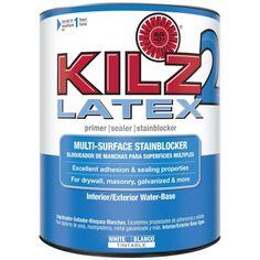 KILZ 2 1-Qt. White Water-Based Latex Interior/Exterior Multi-Surface Primer, Sealer and Stain-Blocker-20902 - The Home Depot