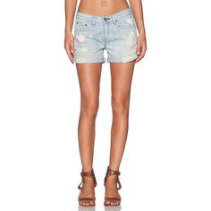rag & bone/JEAN Boyfriend Short Denim ($209) ❤ liked on Polyvore featuring shorts, jean shorts, denim shorts, ripped jean shorts, boyfriend jean shorts, destroyed shorts and torn shorts