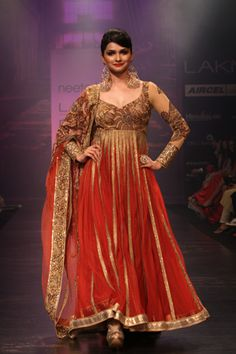 Red Floral Chudidar With Gold Top
