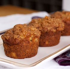 Banana Muffins made with 4 bananas!  Moist and yummy, even without the streusel topping.