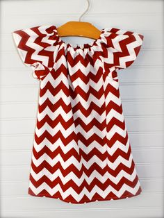 CHOOSE YOUR TEAM colors - chevron peasant dress - short or long sleeve - baby girl toddler - many sizes. Super cute! Scarlet and gray!