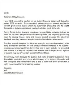 Sample Letter of Re mendation for Teaching Position