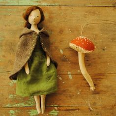 Cloth doll number 7...heading off to the UK with a little mushroom friend.