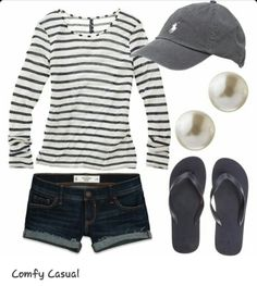 Comfy casual outfit with polo cap! Cool Summer Outfits, Spring Outfits, Cute Outfits, Summer Clothes, Summer Shorts, Outfit Summer, Holiday Outfits, Summer Casual Outfits For Women, Rock Outfits