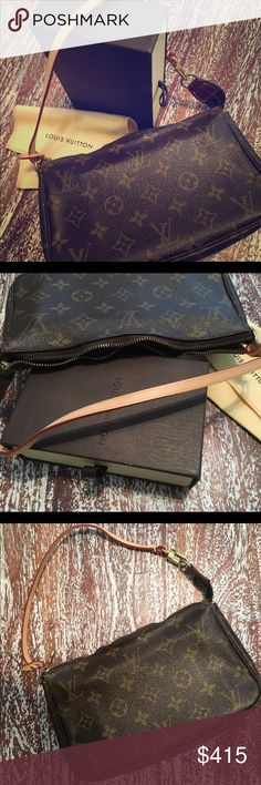 Louis Vuitton Monogram Canvas Pochette Accessoires 🔸Pre-Owned Pochette Bag with BRAND NEW Shoulder Strap 🔸The purse and BRAND NEW strap were purchased at the LV in the Houston Galleria 🔸Has marks inside the bag from use 🔸Zipper has warped a little bit 🔸Includes LV Box & Dust Bag 🔸Measures: 9.1' L x 5.1' H x 1.6' W                                  🔺 Natural cowhide leather trimmings 🔺 Zipper closure 🔺 Golden color metallic pieces 🔺 Textile lining Louis Vuitton Bags