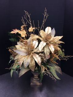 Golden urn custom floral by Andrea for Michaels Round Rock