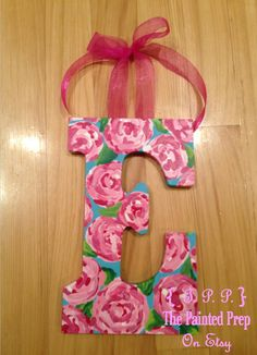 Hand Painted Initials, custom made to order, in your choice of a Lilly Pulitzer print!