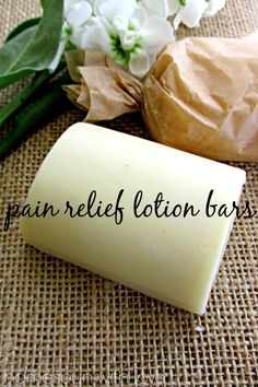 Pain Relief Lotion Bars @ Homespun with LoveIngredients: ◾1/3 cup coconut oil ◾1/3 cup cocoa butter ◾1/3 cup beeswax (can add an extra ounce or two if you want a thicker consistency, which leaves less lotion on the skin when used ◾10 drops Peppermint oil or 10 drops each of additional oil with pain relieving properties