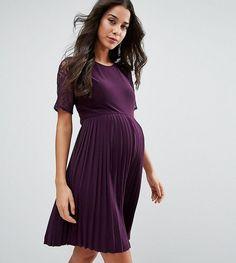 Maternity Pleat And Lace Mini Dress #affiliatelink