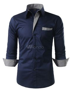 Chemise casual Hommes 2019 bleu marine à manches longues col rabattu Chemise en coton Smart Casual Outfit, Stylish Mens Outfits, Stylish Shirts, Casual Shirts For Men, Casual Outfits, Chemise Fashion, Shirt Collar Styles, Denim Shirt Men, Camisa Polo
