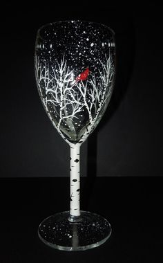 Winter tree with red cardinal wine glasses