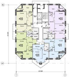 17-этажный жилой дом, сборно-монолитный каркас системы Аркос. Пермь.  план типового этажа 1