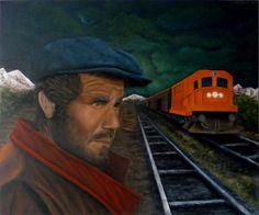 Quadro Pintura by Jorge Marcovich Trem Noturno 50x60 Night Train Oil Painting