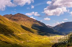 Light Clouds Over Glen Croe. Scotland by Jenny Rainbow. #Landscape #Mountains #Scotland #RestAndBeThankful #GlenCroe #FineArtPrints #Nature #Scenery #Serenity #HealingArt