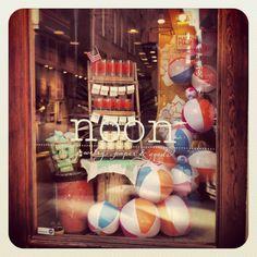 summer window display, noon design shop, providence, ri