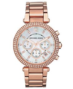 Michael Kors Watch, Women's Chronograph Parker Rose Gold-Tone Stainless Steel Bracelet 39mm MK5491 @Monica Silvestre