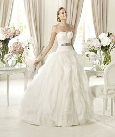 Benicarlo, ball gown, ruching, textured skirt, strapless, dropped waist, tulle, Madeleine's Daughter Bridal Inventory