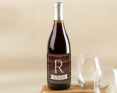 Our Kate Aspen Winter wood design dresses up your wine bottle favors with our Personalized Wine Bottle Labels showing your monogram and event date on each bottle.