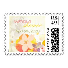 Watercolor Flowers Festive Spring Wedding Shower Postage Stamp. This is customizable to put a personal touch on your mail. Add your photos or text to design your own stamp that can be sent through standard U.S. Mail. Just click the image to try it out!